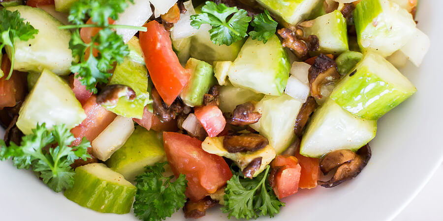 Vegan Cucumber and 'Bacon' Side Salad