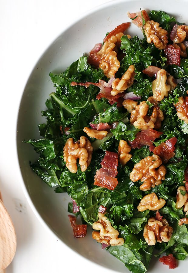 Maple Bacon and Walnut Kale Salad