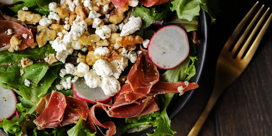Prosciutto and Goat Cheese Salad with Raspberry Vinaigrette