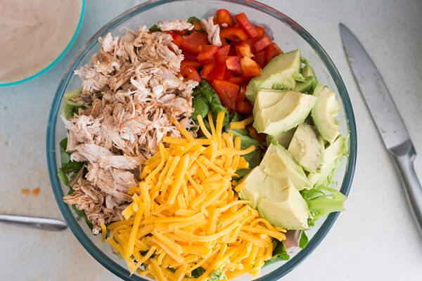 Keto BBQ Salad with Shredded Chicken