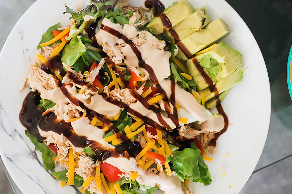 Keto BBQ Salad with Shredded Chicken