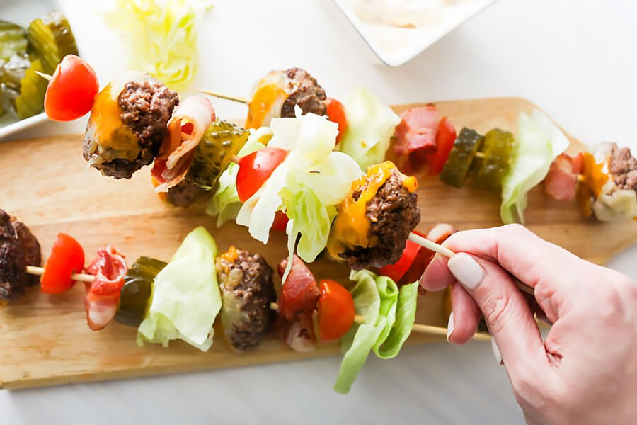 Keto Bacon Cheeseburger Kebabs