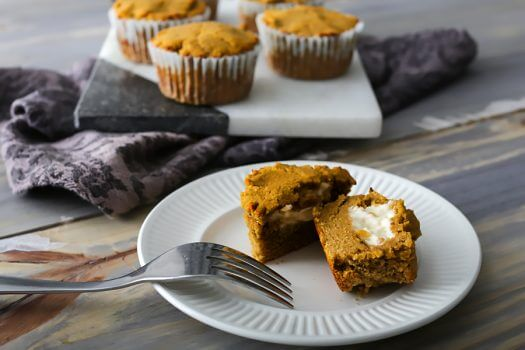 Keto Pumpkin Muffins with Cream Cheese Filling