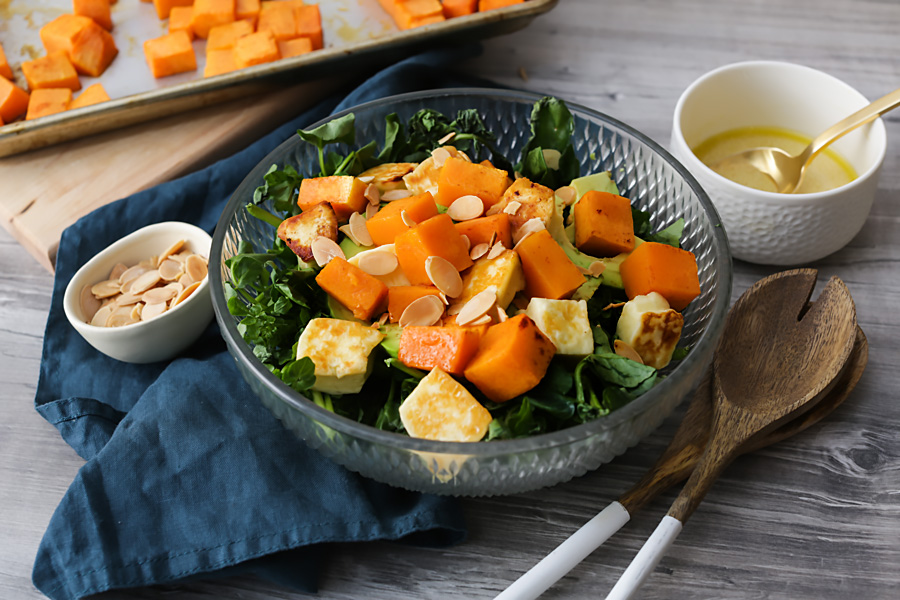 Keto Roasted Pumpkin & Halloumi Salad