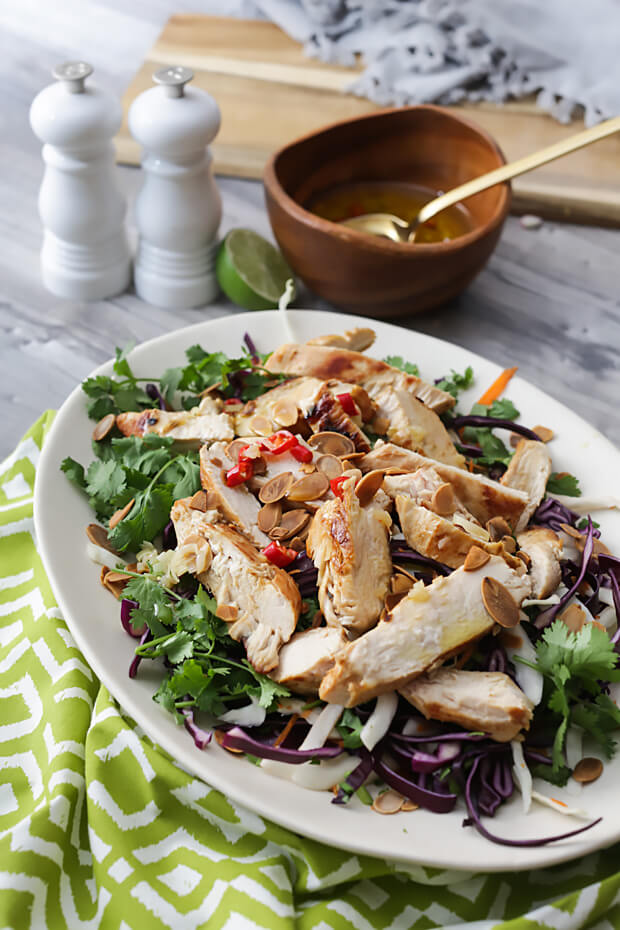 Keto thai chicken salad bowl.