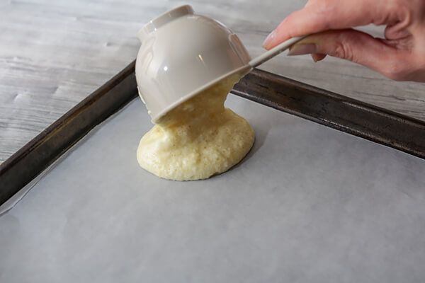 Put the batter onto some parchment paper before baking.