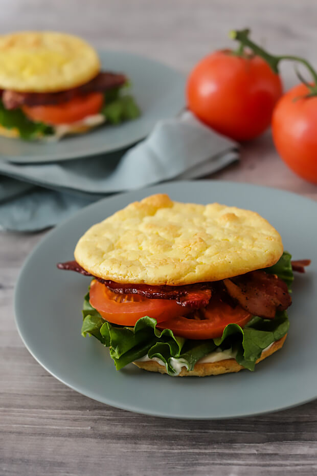 Easy keto cloud breads turned into a delicious BLT sandwich.