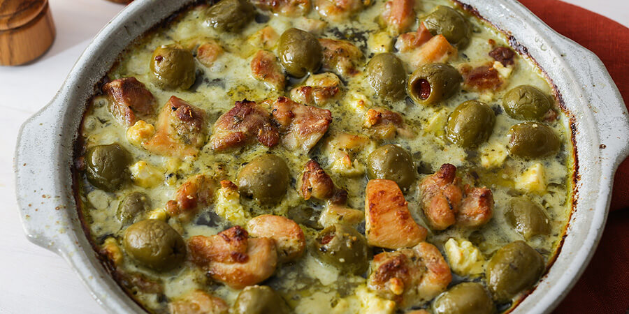 Keto Pesto Chicken, Feta, and Olive Casserole