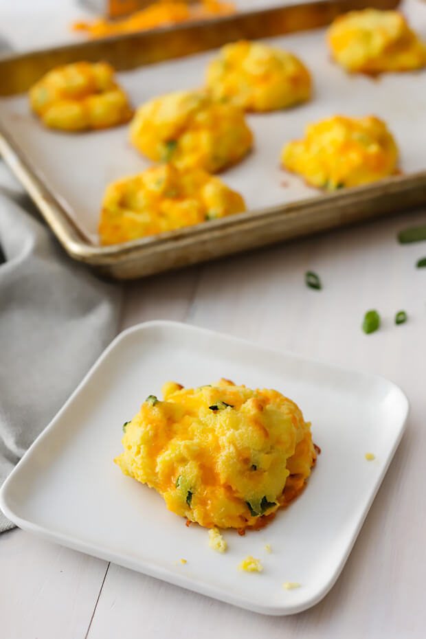 Cheesy keto oven baked biscuits.