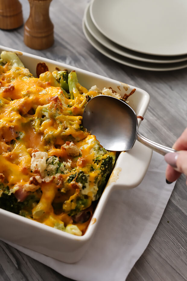 Keto Ham and Broccoli Creamy Casserole