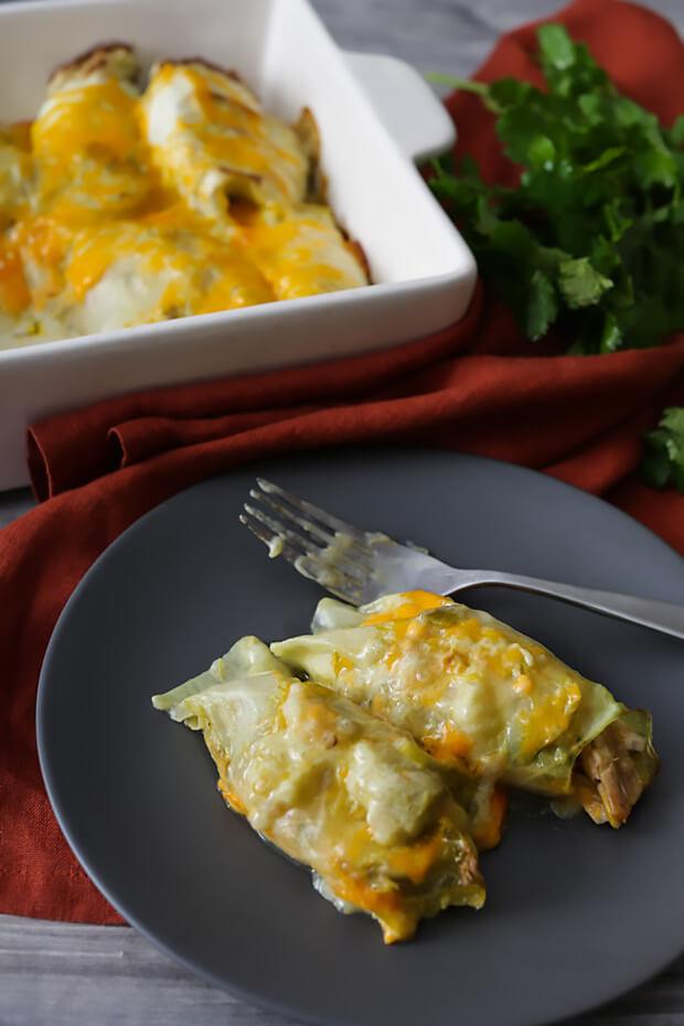 Keto Chicken Enchiladas with Green Chile Sauce