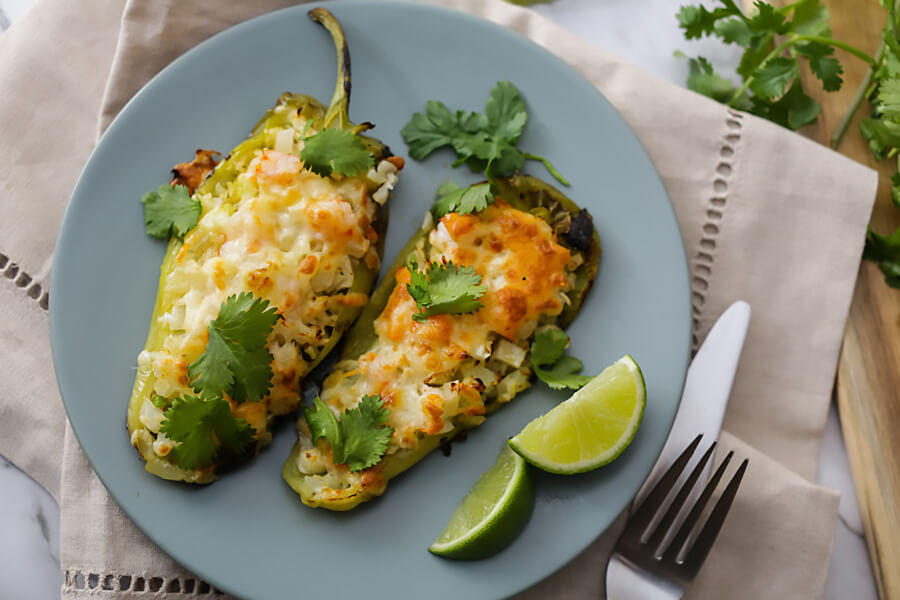 Keto Cilantro Lime Shrimp Stuffed Poblano Peppers