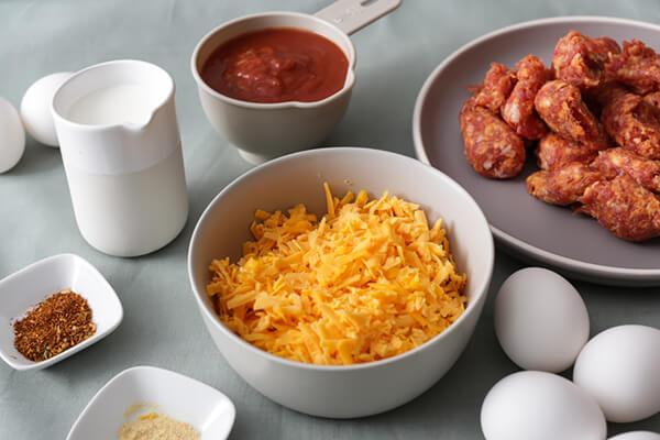 Keto breakfast enchilada ingredients.