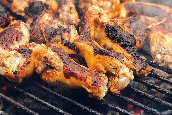 Grilling the chicken.