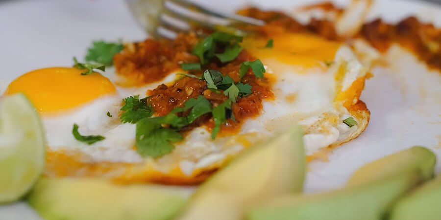 Huevos Rancheros on a plate.