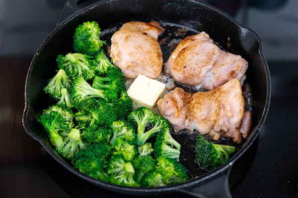 Adding the broccoli.