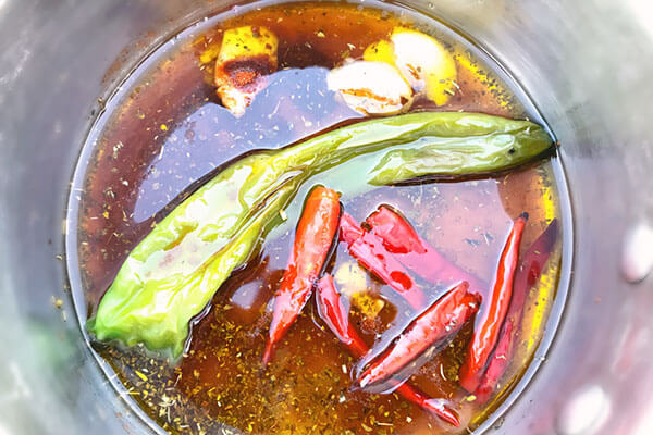 Spices in oil.