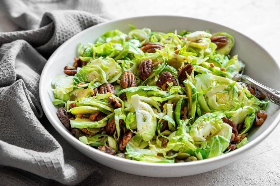 Crispy Brussel Sprout Salad with Lemon Dressing