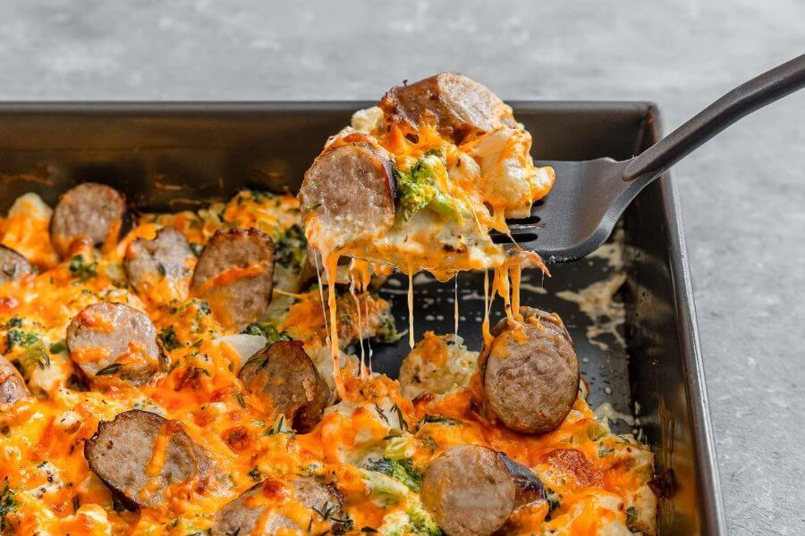 Broccoli and Cauliflower Gratin with Sausage Featured