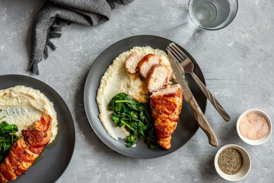 Keto Bacon Wrapped Chicken with Cauliflower Puree