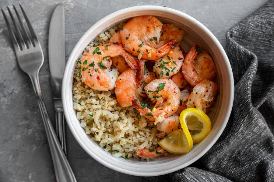 Butter Shrimp and Lemon Parmesan Cauliflower Rice
