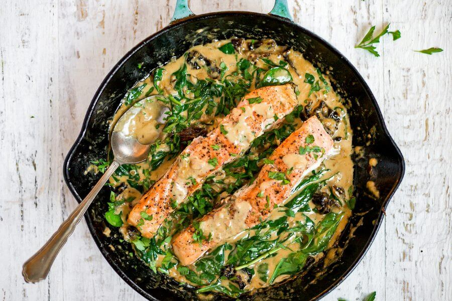 Keto Creamy Tuscan Salmon
