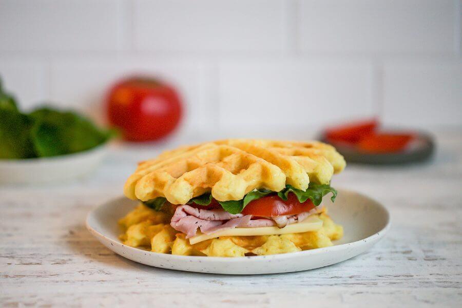 Keto Ham & Cheese Chaffle Sandwich