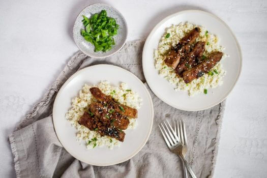 Mongolian Beef with Cauliflower Rice Featured
