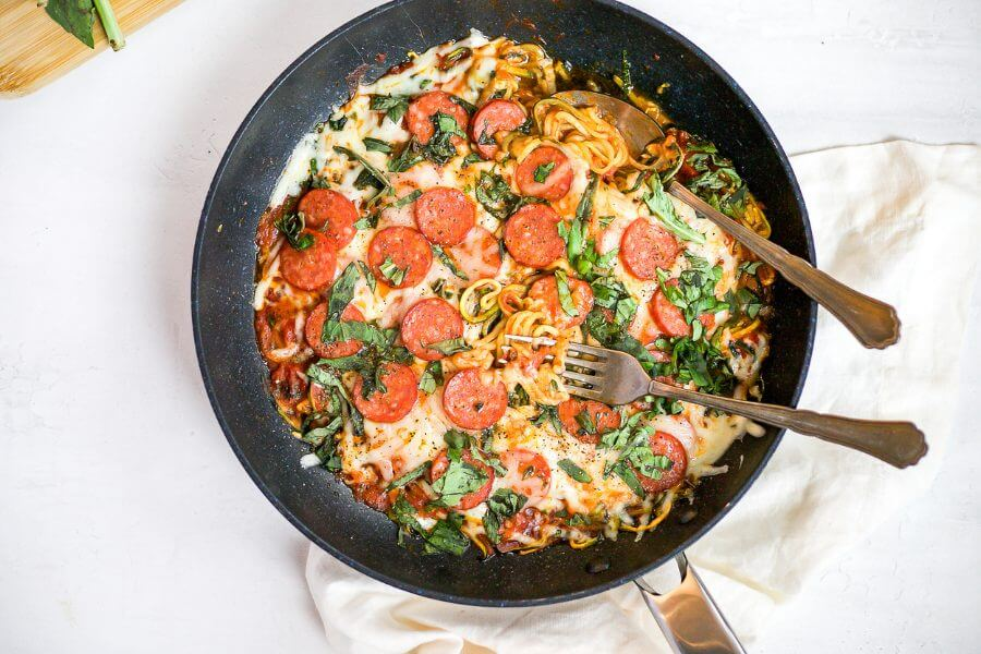 Keto One Pan Pizza Zoodles