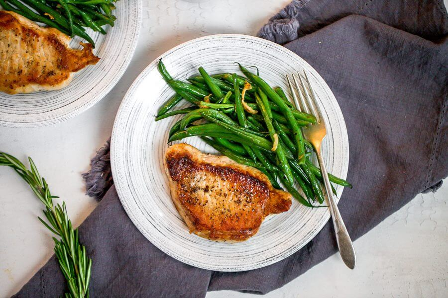 One Pan Pork Chops with Green Beans & Gravy