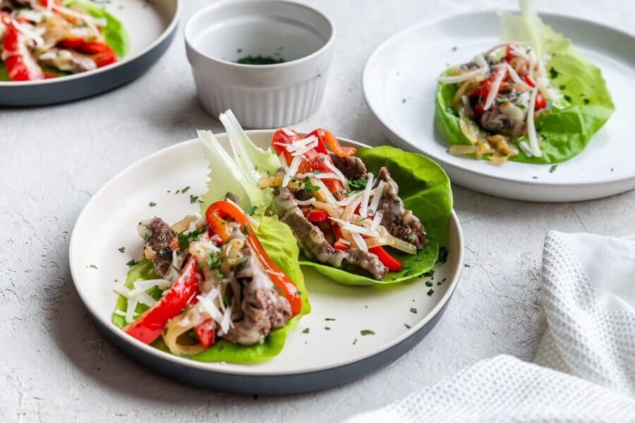 Keto Philly Cheesesteak Lettuce Cups